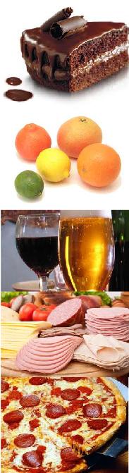 Various foods, causing migraines