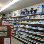 Prescription drugs on shelves, medication for migraine headaches